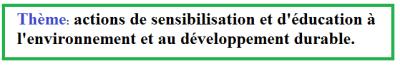 actions de sensibilisation et education environnement et au developpement durable